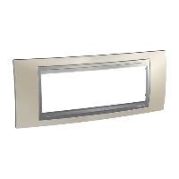 Italian Cover Frame Unica Top IT, Matt nickel/Aluminium, 6 modules