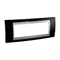 Italian Cover Frame Unica Top IT, Rhodium black/Aluminium, 6 modules