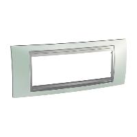 Italian Cover Frame Unica Top IT, Fluor green/Aluminium, 6 modules
