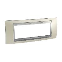 Italian Cover Frame Unica Top IT, Opal titanium/Aluminium, 6 modules