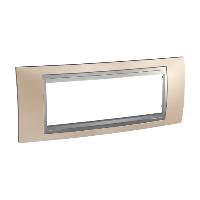 Italian Cover Frame Unica Top IT, Onyx cooper/Aluminium, 6 modules