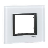 Cover frame Unica Class, White glass, 1-gang