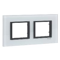 Cover frame Unica Class, White glass, 2-gang
