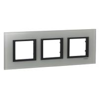 Cover frame Unica Class, White glass, 3-gang