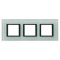 Cover frame Unica Class, Grey glass, 3-gang