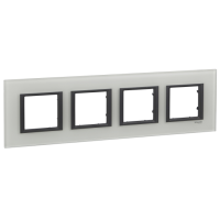 Cover frame Unica Class, White glass, 4-gang