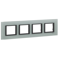 Cover frame Unica Class, Grey glass, 4-gang