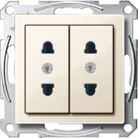 Italian-Double Socket-outlet, White