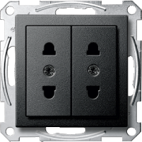 Italian-Double Socket-outlet, Anthracite