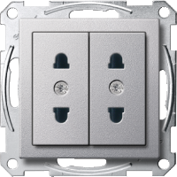 Italian-Double Socket-outlet, Aluminium