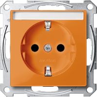 Socket-outletSCHUKO®, Shuttered, with label surface, Orange