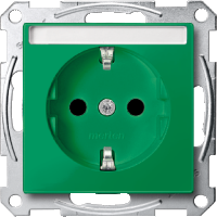 Socket-outletSCHUKO®, Shuttered, with label surface, Green