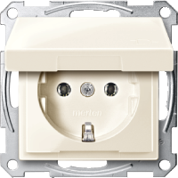 Socket-outletSCHUKO®, Shuttered  with hinged lid , White