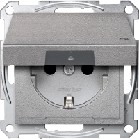Socket-outletSCHUKO®, with hinged lid, Aluminium