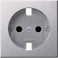 Central plate, shuttered forSCHUKO® socket-outlet Insert, Aluminium
