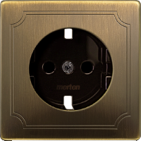 Central plate, shuttered forSCHUKO® socket-outlet Insert, Antique brass