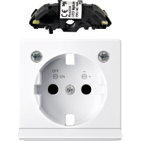 Central plate with light outlet and LED lighting module forSCHUKO® socket-outlet, Active White