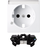 Central plate with labelling field and surge protection module forSCHUKO® socket-outlet, Active White