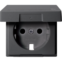 Central plate with hinged lid forSCHUKO® socket-outlet insert, Anthracite