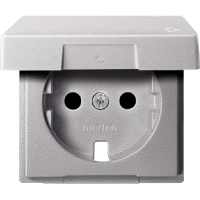 Central plate with hinged lid forSCHUKO® socket-outlet insert, Aluminium
