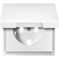 Central plate with hinged lid forSCHUKO® socket-outlet insert, Polar White