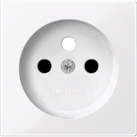 Central plate for socket-outlet insert with pin earth, Active White