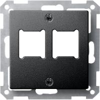 Central plate for RJ 11/RJ 45 insert, 2-gang, Anthracite