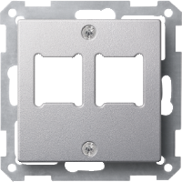 Central plate for RJ 11/RJ 45 insert, 2-gang, Aluminium