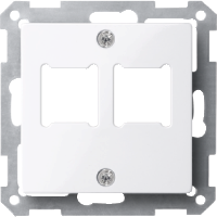 Central plate for RJ 11/RJ 45 insert, 2-gang, Active White