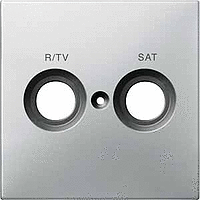 Central plate marked R/TV/SAT for antenna socket-outlet, Stainless steel