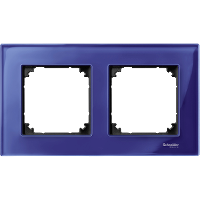 M-Elegance real glass frame, 2-gang, Sapphire blue