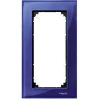 M-Elegance real glass frame, 2-gang, without central bridge piece, Sapphire blue