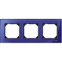 M-Elegance real glass frame, 3-gang, Sapphire blue