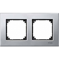M-Elegance metal frame, 2-gang, Platinum silver