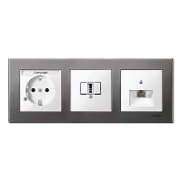 M-Elegance metal frame, 3-gang, Rhodium grey