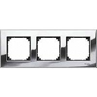 M-Elegance metal frame, 3-gang, Chrome