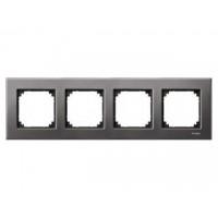 M-Elegance metal frame, 4-gang, Rhodium grey