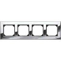 M-Elegance metal frame, 4-gang, Chrome