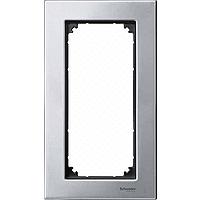 M-Elegance metal frame, 2-gang, without central bridge piece, Platinum silver