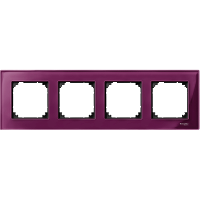 M-Elegance real glass frame, 4-gang, Ruby red
