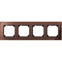 M-Elegance real glass frame, 4-gang, Machogany brown