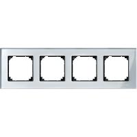 M-Elegance real glass frame, 4-gang, Diamond silver