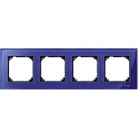 M-Elegance real glass frame, 4-gang, Sapphire blue