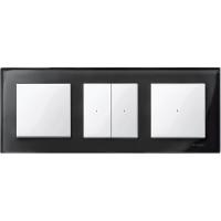 M-Elegance real glass frame, 3-gang, Onyx black