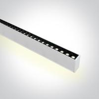 38150BU/W/C WHITE 48pcs SPOTS 40W 34d UGR17 + UPLIGHT LED 20W 120d CW 1300mm LINEAR 230V DARK LIGHT
