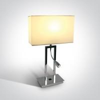 61044A/C/W CHROME TABLE LAMP LED 3W + 40W E27 WHITE SHADE