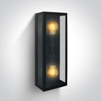 67406B/B BLACK WALL LIGHT 40W 2xE27 IP43