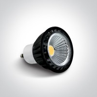 7305CG/W BLACK COB LED GU10 5w WW 120deg 230v