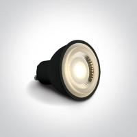 7306CBG/W BLACK COB LED 6W WW GU10 60deg 230v