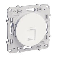 RJ45 data socket, center plate + fixing frame, single, White
